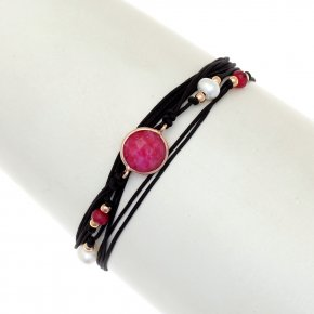 Cord Bracelet in silver 925, pink gold plated withruby