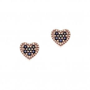 Earrings in silver 925, pink gold plated with blackspinel