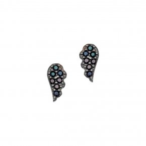 Earrings in silver 925 pink gold plated with turquoise zirconia
