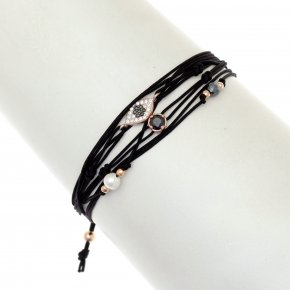 Cord Bracelet in silver 925 pink gold plated with white zirconia