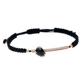 Cord Bracelet in silver 925, pink gold plated with onyx andwhite zirconia