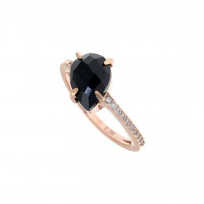 Ring Silver 925, pink gold plated with onyx and white zirconia