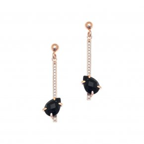 Earrings in silver 925, pink gold plated with onyx and white zirconia