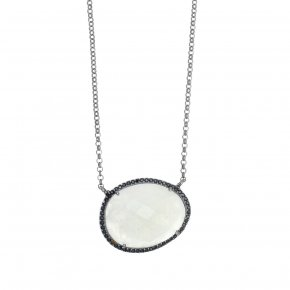 Necklace in silver 925, pink gold plated with moonstoneand black spinel