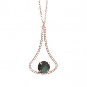 Necklace in silver 925, pink gold plated with labradorite andwhite zirconia