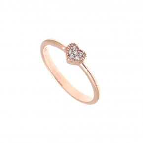 Ring Silver 925, pink gold plated with white zirconia