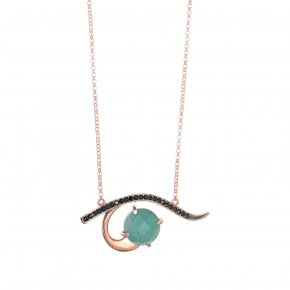 Necklace in silver 925, pink gold plated with and blackspinel
