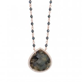 Necklace in silver 925 pink gold plated with labradorite, hematite and white zirconia