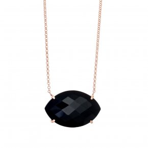 Necklace in silver 925, pink gold plated with onyx