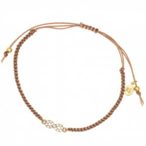 Cord Bracelet in silver 925, gold plated with white zirconia
