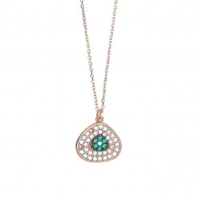 Necklace in silver 925, pink gold plated with green andwhite zirconia